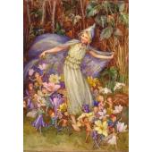 Postkaart Joan in flowerland with baby (Magareth Tarrant)