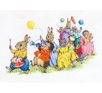 Postal card Parade of Animals with matching band  (Audrey Tarrant)