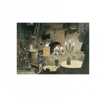 Postkaart Tomte aan het eten (Wiberg)