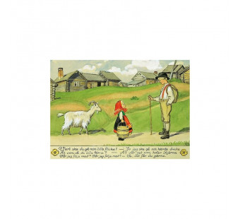 Postkaart meisje met geit  (Elsa Beskow)