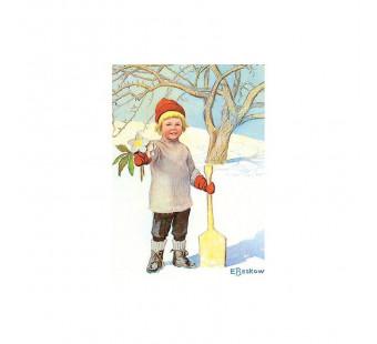 Postkaart jongetje met kerstroos  (Elsa Beskow)