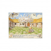 Postkaart meisje met schaapjes  (Elsa Beskow)