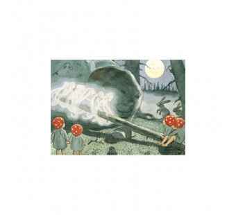 Postcard the children of the forest with dandle board(Elsa Beskow)