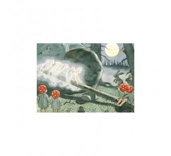 Postkaart de kabouterkinderen op de wipwap (Elsa Beskow)