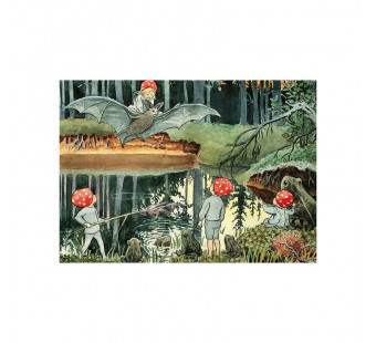 Postcard children of the forest and the bats  (Elsa Beskow)