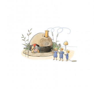 Postcard house made of a hat (Elsa Beskow)