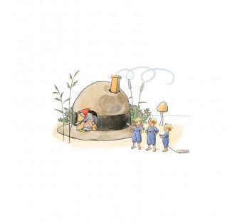 Postkaart huis gemaakt van een hoed (Elsa Beskow)