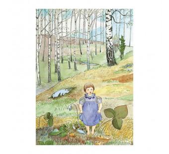 Postkaart meisje in het bos (Elsa Beskow)