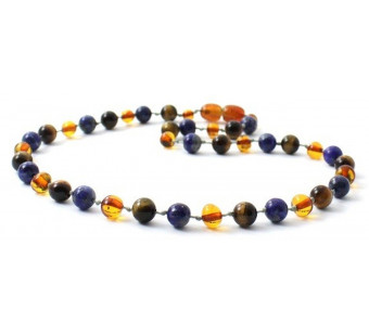 Cognac Amber Necklace Mixed With Tiger Eye and Lapis Lazuli