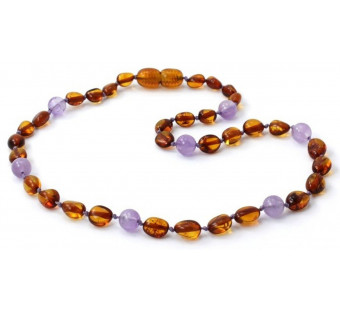 amber necklace cognac bean with amethyst