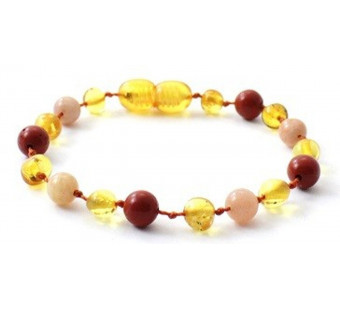 Honey Amber Anklet Mixed With Sunstone and Red Jasper