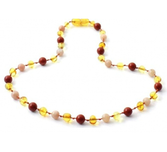Honey Amber Necklace Mixed With Red Jasper and Sunstone