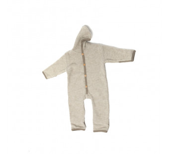 Cosilana woolcotton fleece suit with foldable gloves and booties latte macchiato (48918)