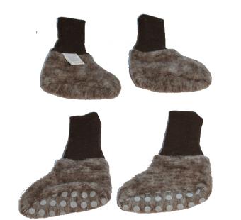 Cosilana wolkatoen fleece babyslofjes  bruin (48910)