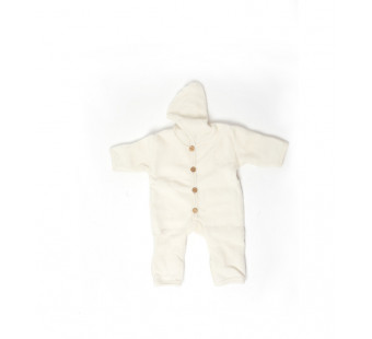 Cosilana woolcotton fleece suit with foldable gloves and booties natural (48918)