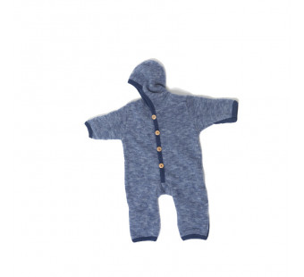 Cosilana woolcotton fleece suit with foldable gloves and booties navy (48918)