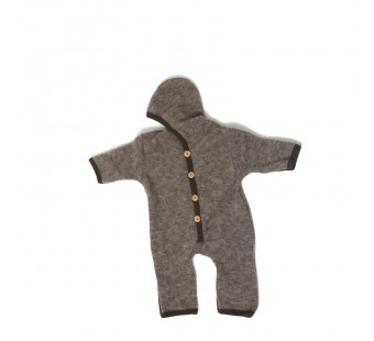 Cosilana woolcotton fleece suit with foldable gloves and booties brown (48918)