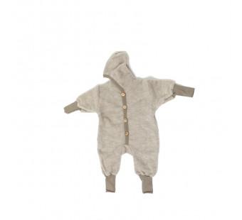 Cosilana Baby Hooded overall made of woolcottonfleece latte macchiato melange (48928)