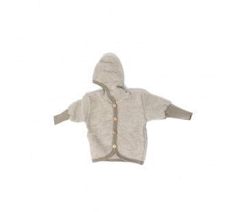 Cosilana woolcottonfleece jacket with hood latte macchiato (48930)