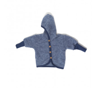 Cosilana woolcottonfleece jacket with hood navy (48930)