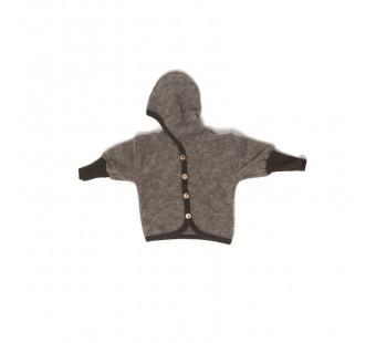 Cosilana woolcottonfleece jacket with hood brown (48930)
