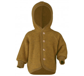 Engel woolfleece jacket with hood Saffron