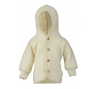 Engel woolfleece jacket with hood natural
