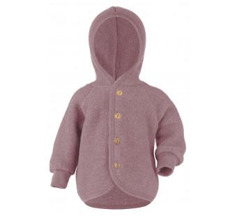 Engel woolfleece jacket with hood Rosewood Melange