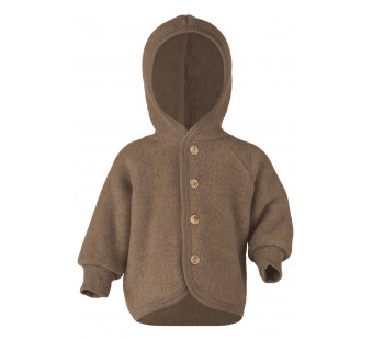 Engel woolfleece jacket with hood Walnut Melange