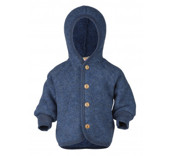 Engel woolfleece jacket with hood Blue Melange