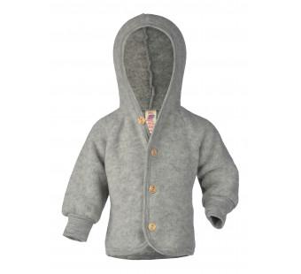 Engel woolfleece jacket with hood light grey melange