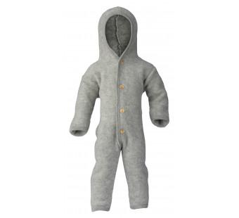 Engel woolfleece overall with hood light grey melange
