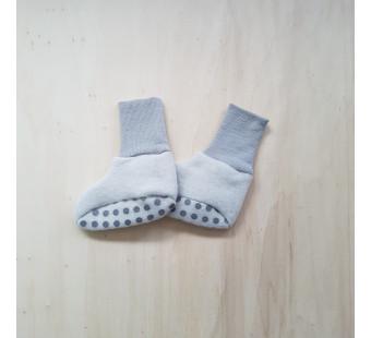 Cosilana baby boots made of woolcotton fleece  soft grey (48910)