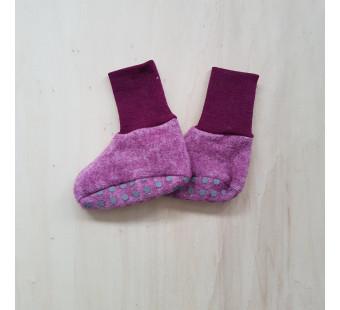 Cosilana baby boots made of woolcotton fleece  wine red (48910)