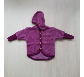 Cosilana woolcottonfleece jacket with hood wine red (48930)