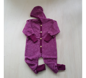 Cosilana Baby Hooded overall made of woolcottonfleece wine red (48928)