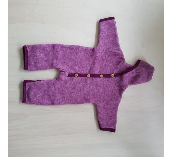 Cosilana woolcotton fleece suit with foldable gloves and booties wine red (48918)