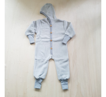 Cosilana Baby Hooded overall made of woolcottonfleece soft grey (48928)
