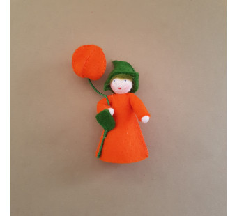 Seasonal doll Lantern Girl with flower in her hand