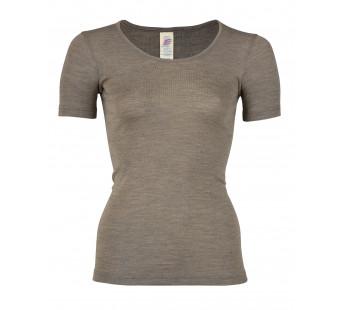 Engel wool silk short sleeved shirt walnut