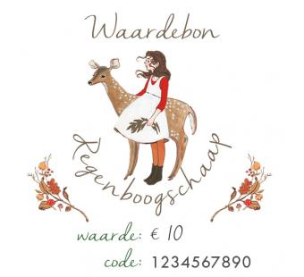 Waardebon €10 voor Regenboogschaap (digitaal)