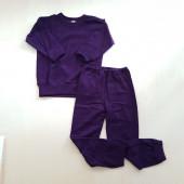 Cosilana wollfrottee 2 delige pyjama donkerpaars