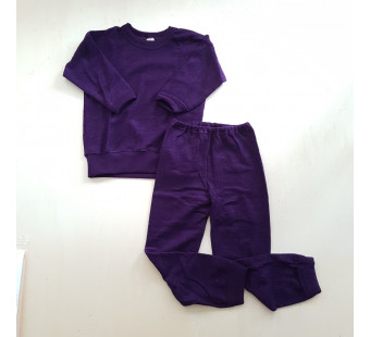 Cosilana wolfrottee 2 delige pyjama donkerpaars (45291)