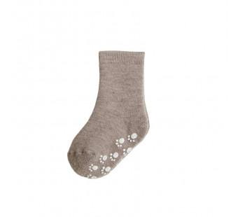 Joha bruingrijze wollen sokken antislip 90% wol (95016)