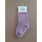 Joha roze wollen sokken antislip 90% wol (95016)