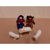 Vilten poppetjes kerstset Jozef Maria kind Jezus en schaapjes