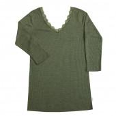 Joha wool silk longsleeve green with deep neck