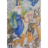 Postal card Saint Nicolaus with the animals