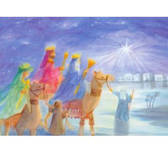 Postkaart  Three kings on a journey D Schmidt