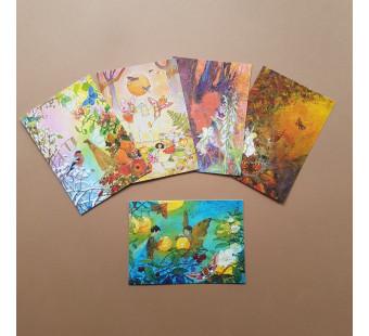 Set of 5 postal cards angels